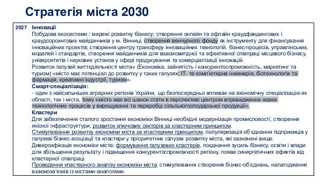 Стратегія міста 2030 2027 Інновації Побудова екосистеми / мережі розвитку бізнесу; створення онлайн та офлайн краудфандинг...
