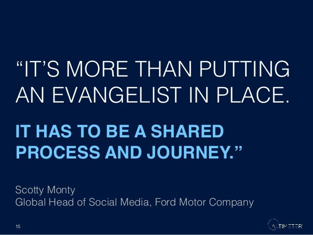 """""""IT'S MORE THAN PUTTING AN EVANGELIST IN PLACE.! IT HAS TO BE A SHARED PROCESS AND JOURNEY."""""""" Scotty Monty! Global Head of..."""