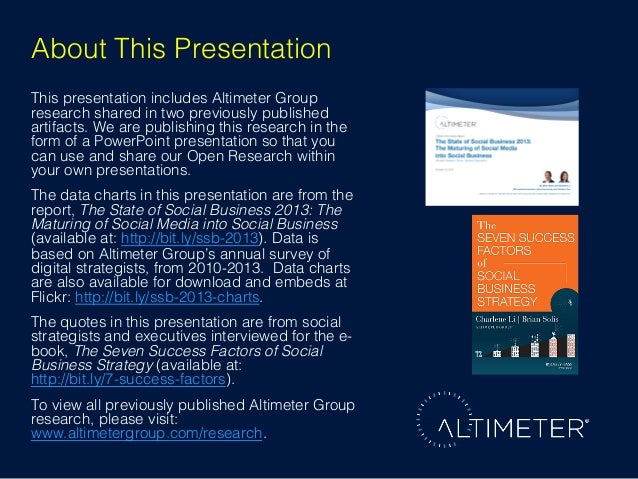 About This Presentation! This presentation includes Altimeter Group research shared in two previously published artifacts....