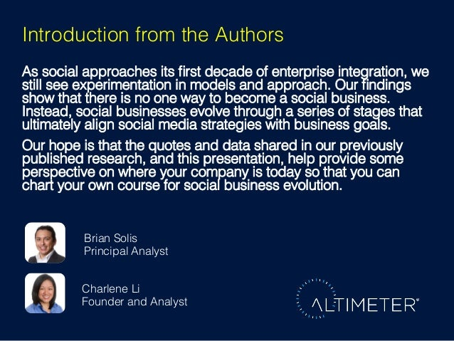 Introduction from the Authors! As social approaches its first decade of enterprise integration, we still see experimentatio...