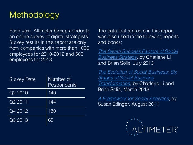 Methodology! Each year, Altimeter Group conducts an online survey of digital strategists. Survey results in this report ar...