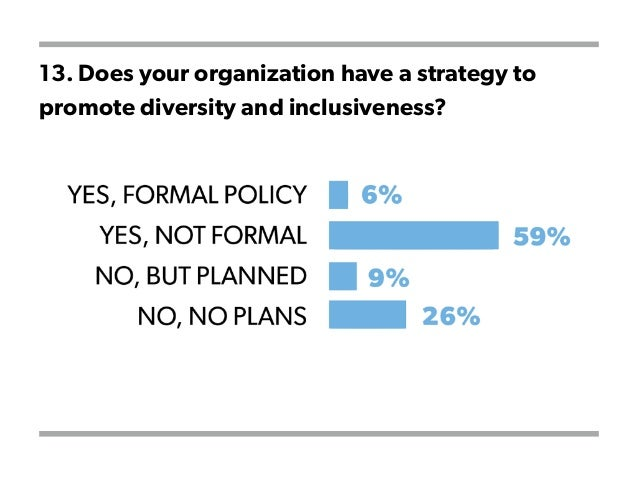 13. Does your organization have a strategy to promote diversity and inclusiveness?