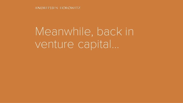 Meanwhile, back in venture capital…