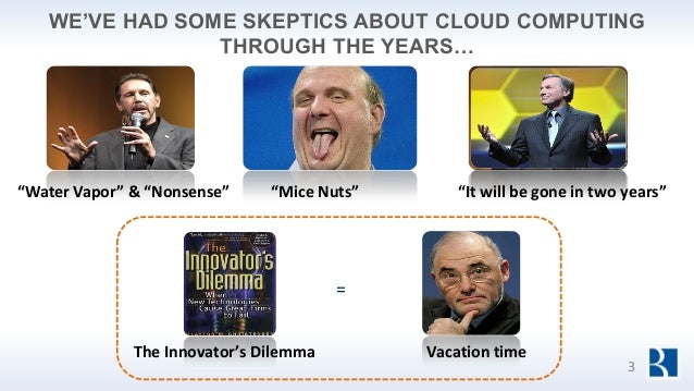 """WE'VE HAD SOME SKEPTICS ABOUT CLOUD COMPUTING THROUGH THE YEARS… """"Mice Nuts"""" Vacation time = The Innovator's Dilemma """"Wate..."""