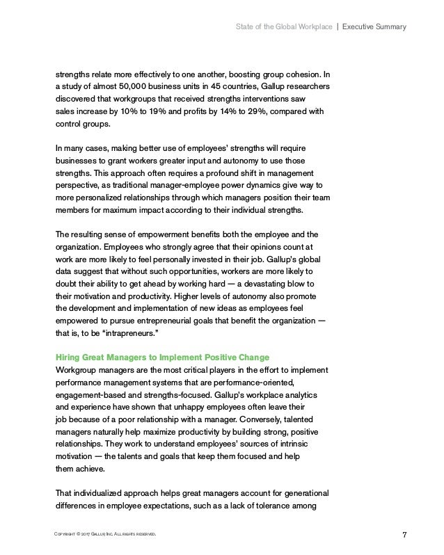 7Copyright © 2017 Gallup, Inc. All rights reserved. State of the Global Workplace Executive Summary strengths relate mo...