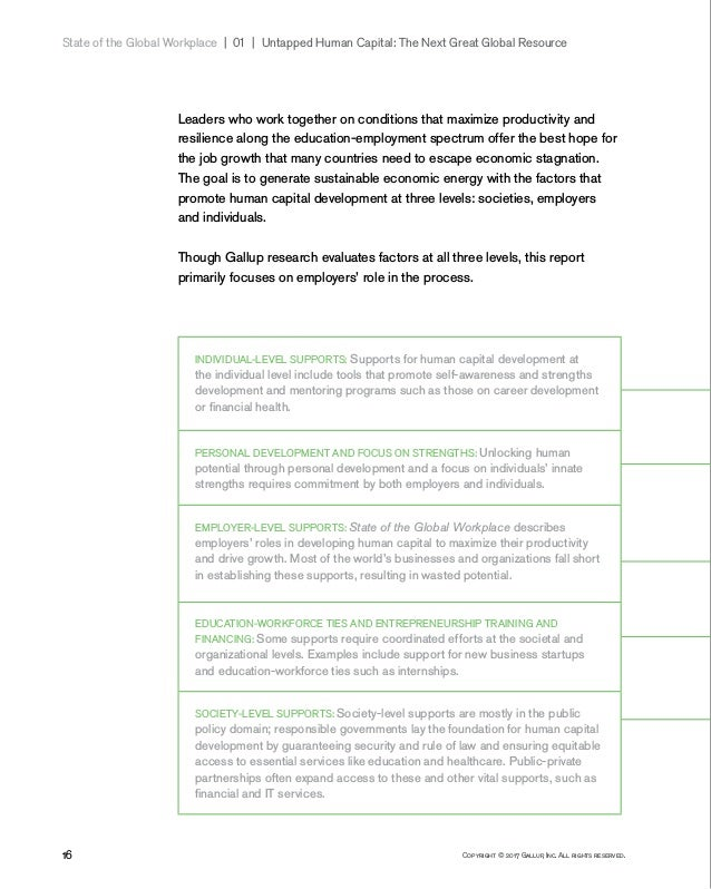 16 Copyright © 2017 Gallup, Inc. All rights reserved. State of the Global Workplace 01   Untapped Human Capital: The N...