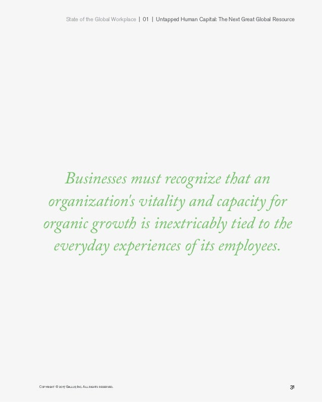 State of the Global Workplace 01   Untapped Human Capital: The Next Great Global Resource 31Copyright © 2017 Gallup, I...