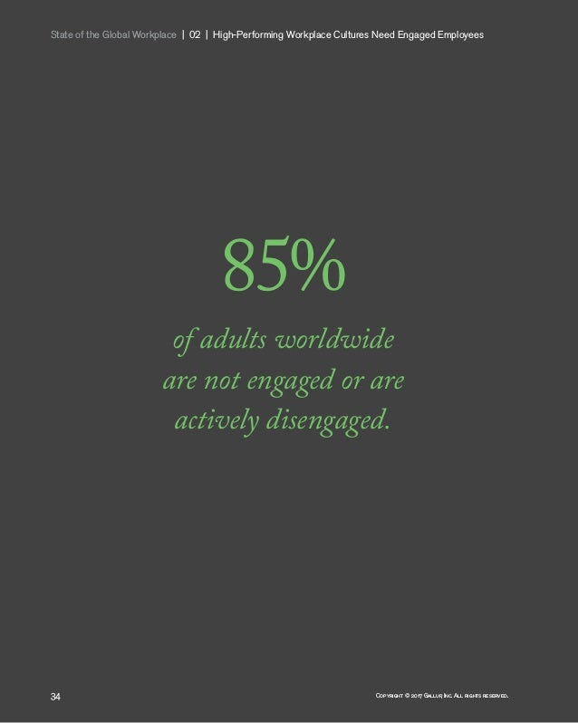 State of the Global Workplace   02   High-Performing Workplace Cultures Need Engaged Employees 34 Copyright © 2017 Gal...