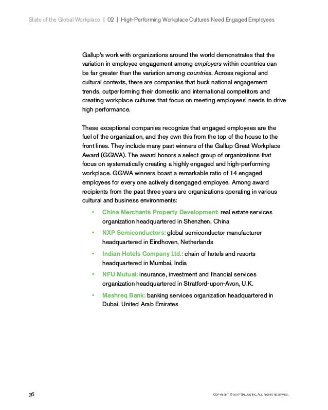 36 Copyright © 2017 Gallup, Inc. All rights reserved. State of the Global Workplace 02   High-Performing Workplace Cul...