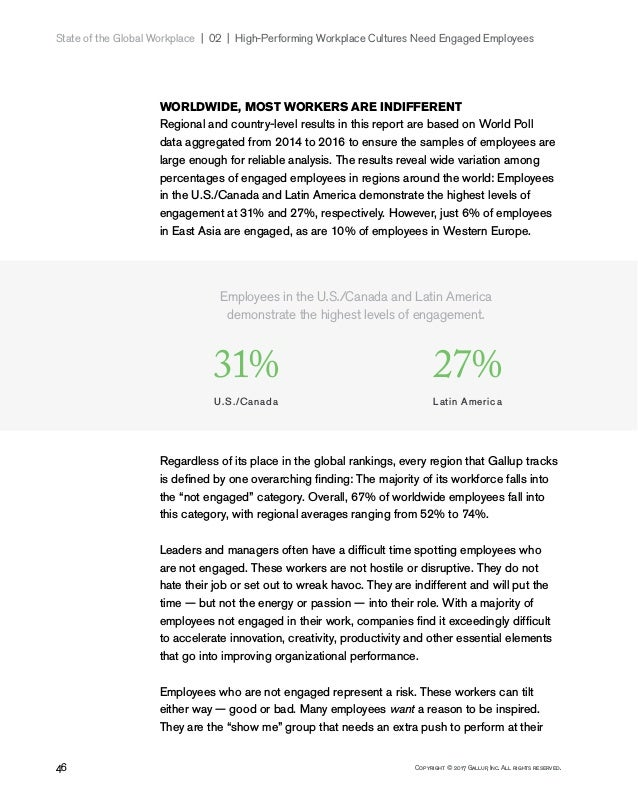 46 Copyright © 2017 Gallup, Inc. All rights reserved. State of the Global Workplace 02   High-Performing Workplace Cul...