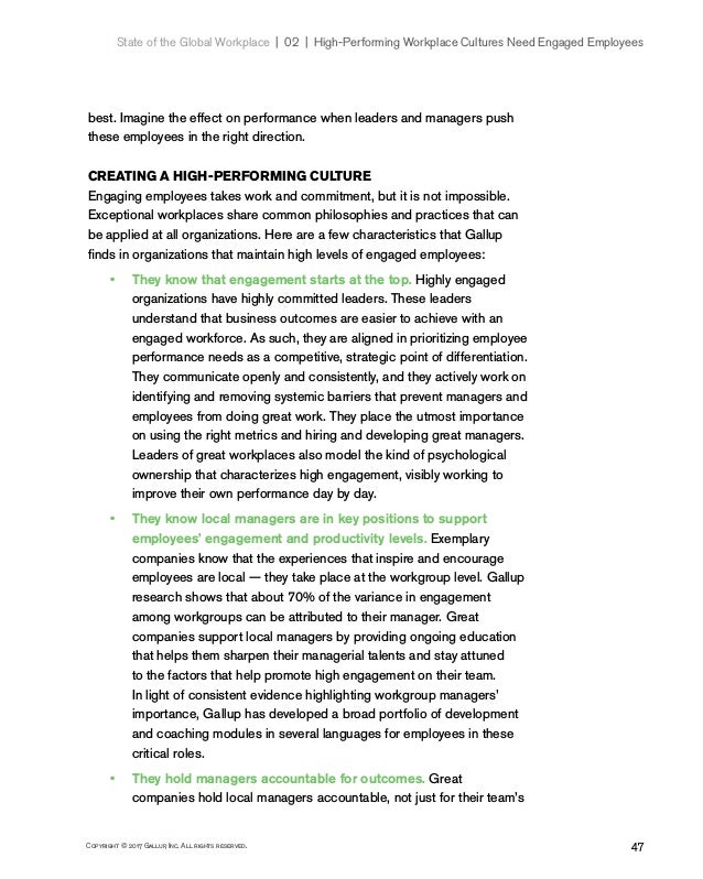 47Copyright © 2017 Gallup, Inc. All rights reserved. State of the Global Workplace 02   High-Performing Workplace Cult...