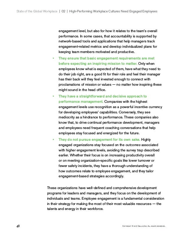 48 Copyright © 2017 Gallup, Inc. All rights reserved. State of the Global Workplace 02   High-Performing Workplace Cul...