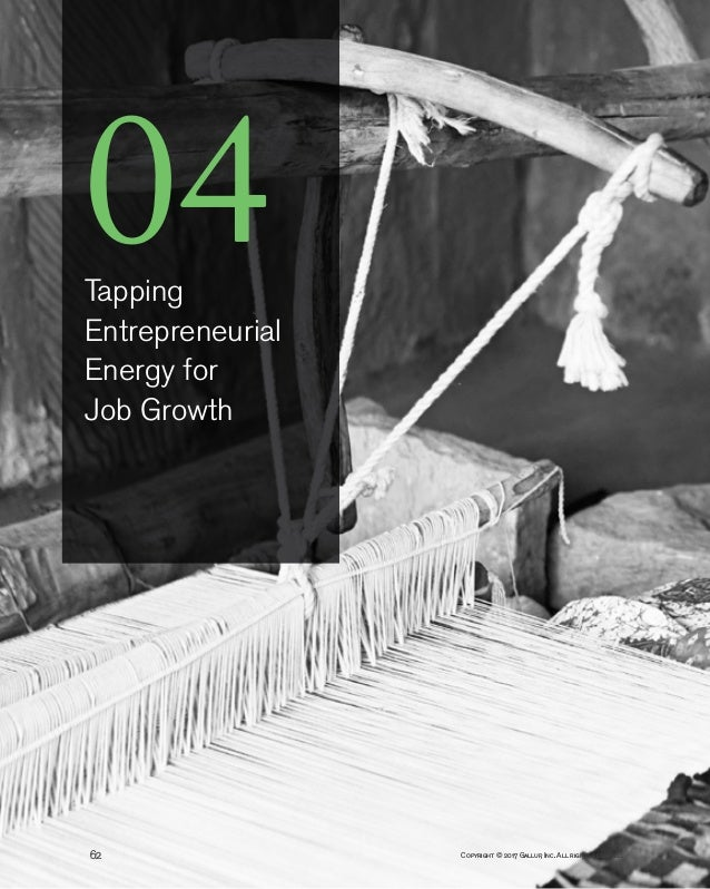Copyright © 2017 Gallup, Inc. All rights reserved.62 04Tapping Entrepreneurial Energy for Job Growth