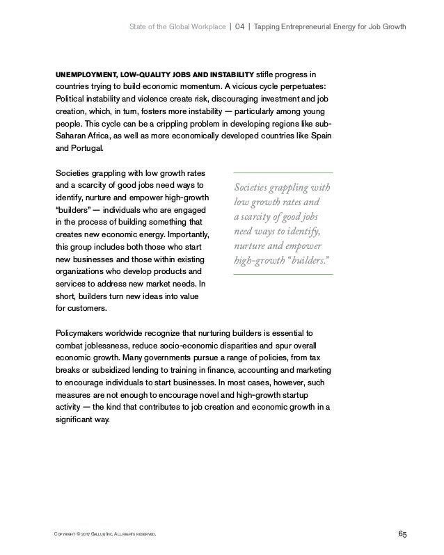 65Copyright © 2017 Gallup, Inc. All rights reserved. State of the Global Workplace 04   Tapping Entrepreneurial Energy...