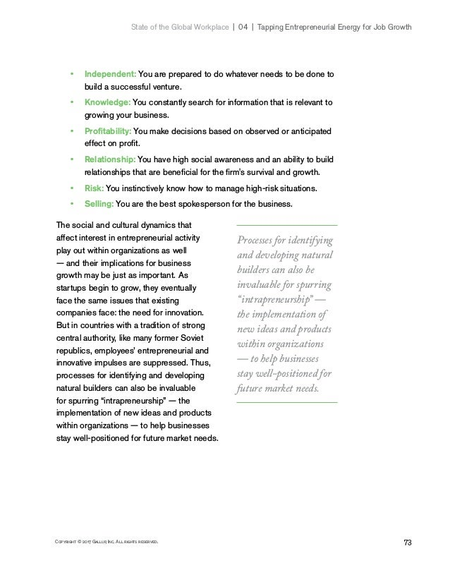 73Copyright © 2017 Gallup, Inc. All rights reserved. State of the Global Workplace 04   Tapping Entrepreneurial Energy...