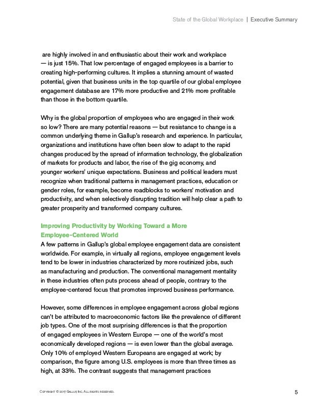 5Copyright © 2017 Gallup, Inc. All rights reserved. State of the Global Workplace Executive Summary are highly involved...