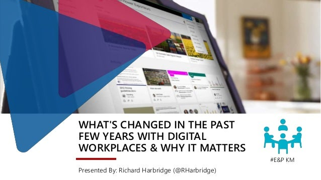 WHAT'S CHANGED IN THE PAST FEW YEARS WITH DIGITAL WORKPLACES & WHY IT MATTERS Presented By: Richard Harbridge (@RHarbridge...