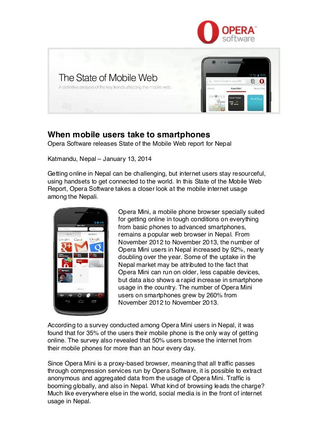 Opera Software's Sate of the Mobile Web report for Nepal