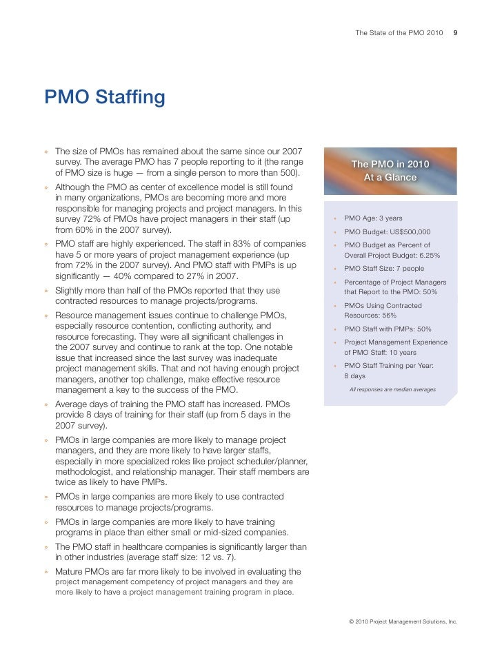 State Of The Pmo 2010 Research Report