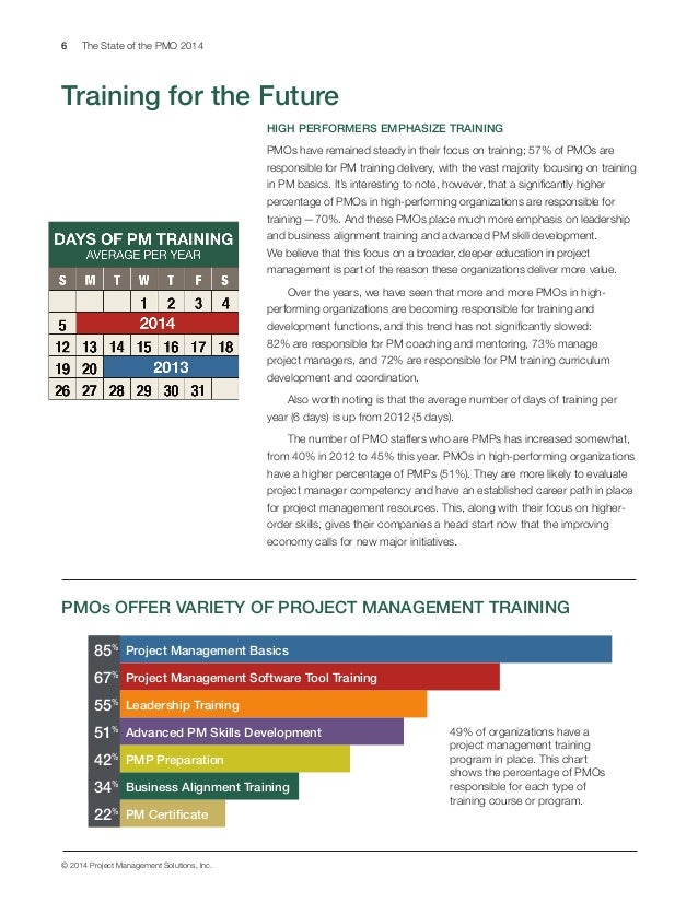 6 The State of the PMO 2014 © 2014 Project Management Solutions, Inc. 1 2 3 4 5 HIGH PERFORMERS EMPHASIZE TRAINING PMOs ha...