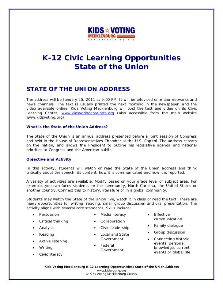 K-12 Civic Learning Opportunities               State of the UnionSTATE OF THE UNION ADDRESSThe address will be January 25...