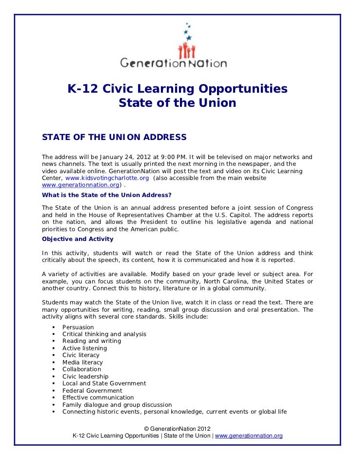 K-12 Civic Learning Opportunities               State of the UnionSTATE OF THE UNION ADDRESSThe address will be January 24...
