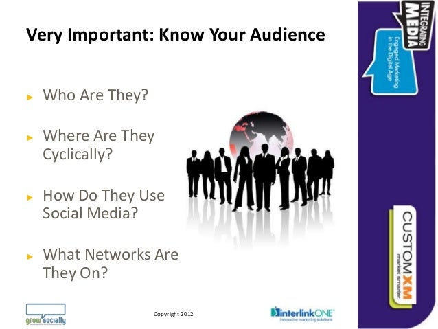 Very Important: Know Your Audience►   Who Are They?►   Where Are They    Cyclically?►   How Do They Use    Social Media?► ...