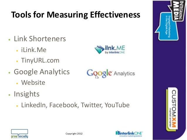 Tools for Measuring Effectiveness   Link Shorteners        iLink.Me        TinyURL.com   Google Analytics        Webs...
