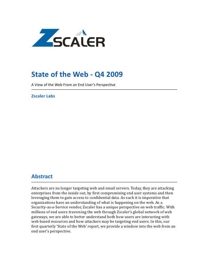 State  of  the  Web  -‐  Q4  2009 A  View  of  the  Web  From  an  End  User's  Perspec:ve ...