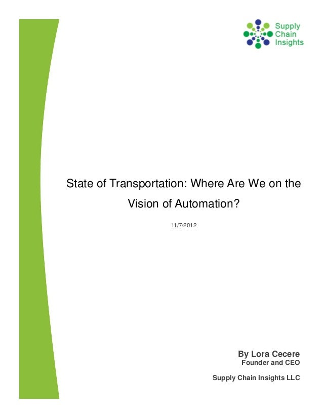 State of Transportation: Where Are We on the Vision of Automation? - 7 NOV 2012