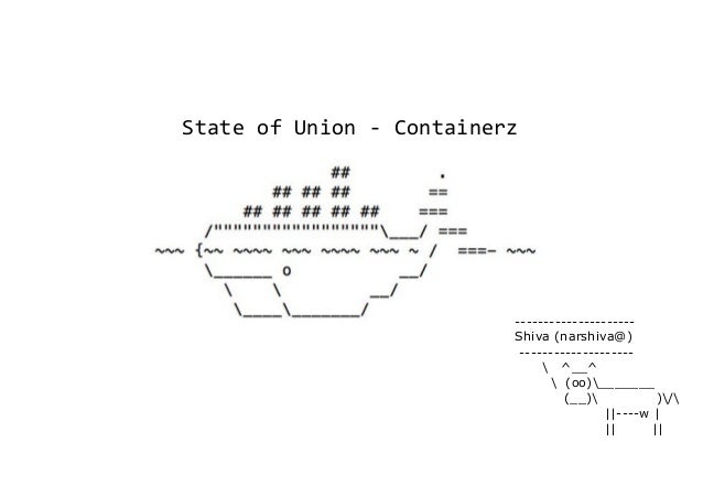 State of Union - Containerz --------------------- Shiva (narshiva@) --------------------  ^__^  (oo)_______ (__) )/ ||----...