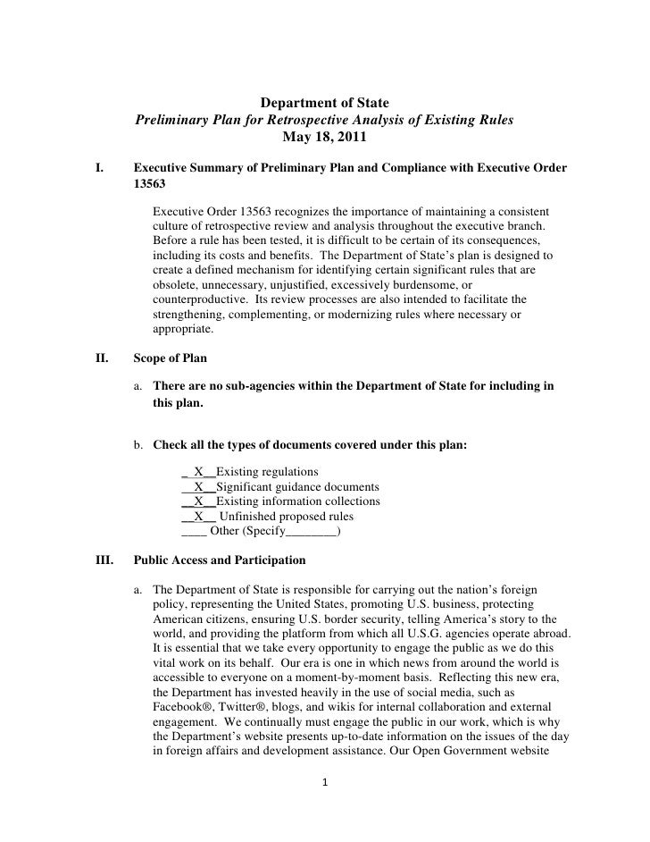 Department of State       Preliminary Plan for Retrospective Analysis of Existing Rules                              May 1...
