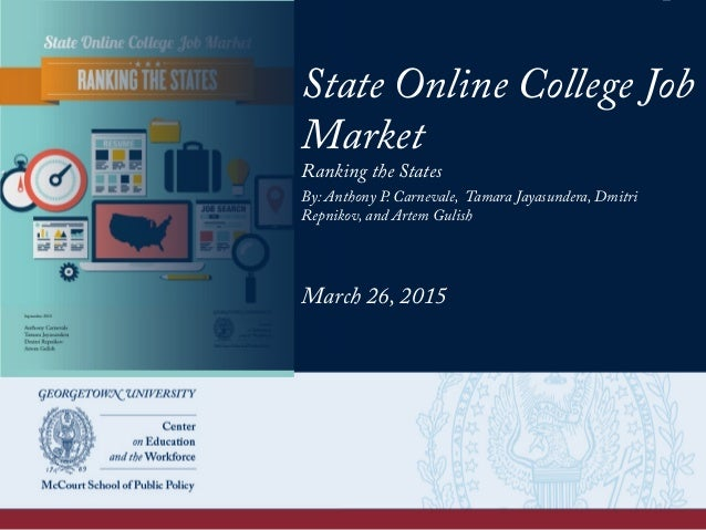 State Online College Job Market Ranking the States By: Anthony P. Carnevale, Tamara Jayasundera, Dmitri Repnikov, and Arte...