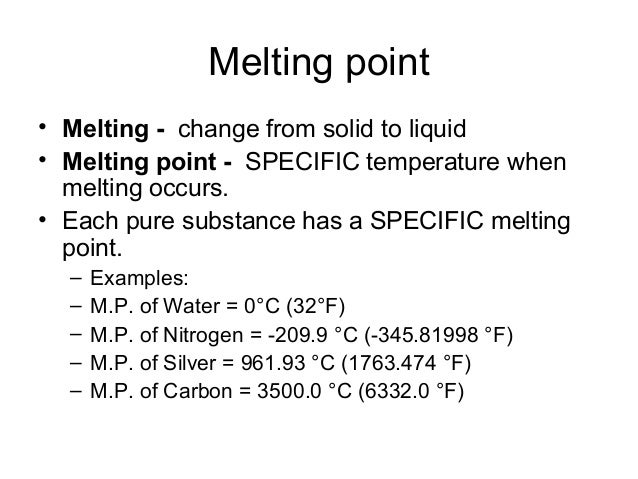 solid and melting point An impurity consisting of 5% total mass will lower the melting point from that of the pure compound, and it will increase the melting point rangea value of 103-107.