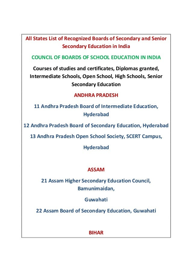 All States List of Recognized Boards of Secondary and Senior Secondary Education in India COUNCIL OF BOARDS OF SCHOOL EDUC...