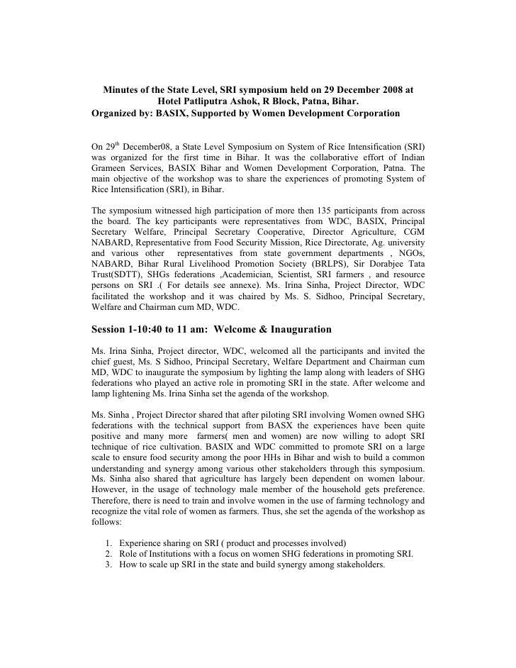 Minutes of the State Level, SRI symposium held on 29 December 2008 at               Hotel Patliputra Ashok, R Block, Patna...