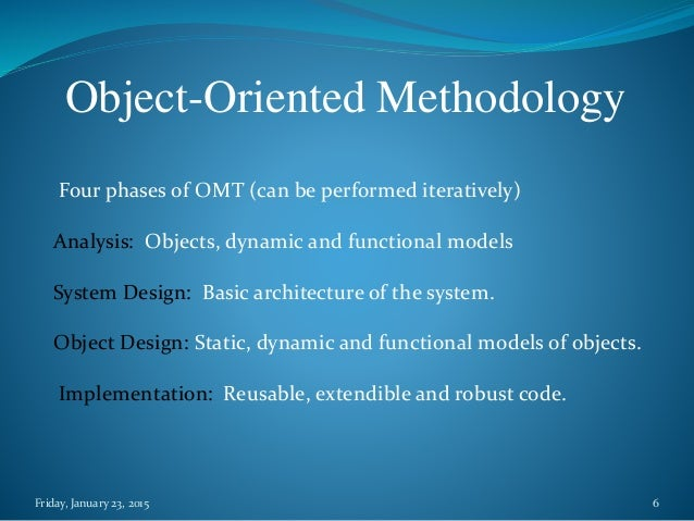 a paper on object oriented methodology in programming The object oriented methodology started to be developed around the same time as procedural programming methods, however it took much longer to become the dominant paradigm where procedural programming emphasize organizing code based on program flow and logic, object-oriented programming emphasizes the data itself.