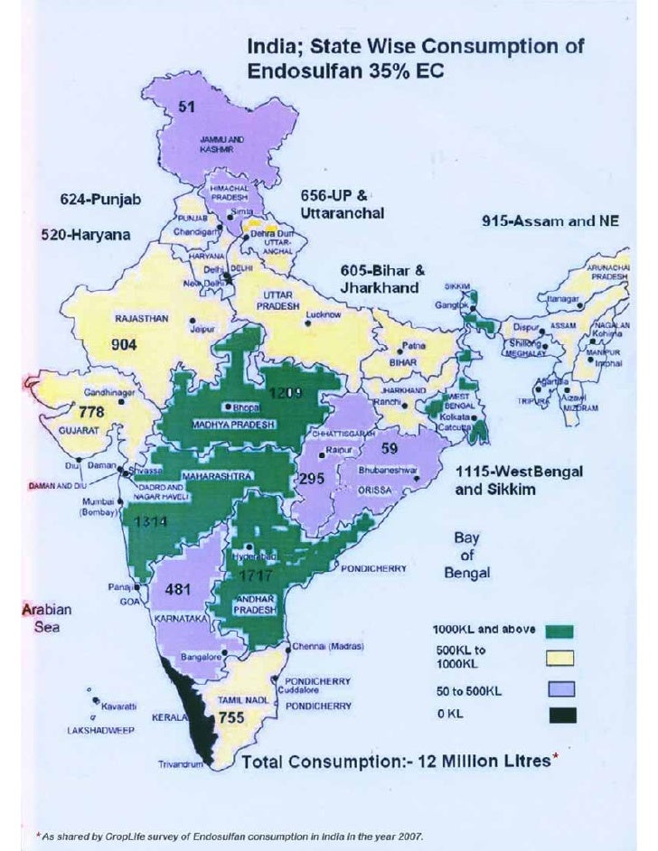 State wise Consumption of Endosulfan in India