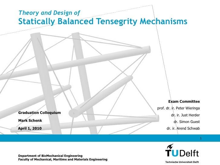 Theory and Design of Statically Balanced Tensegrity Mechanisms Graduation Colloquium Mark Schenk Department of BioMechanic...