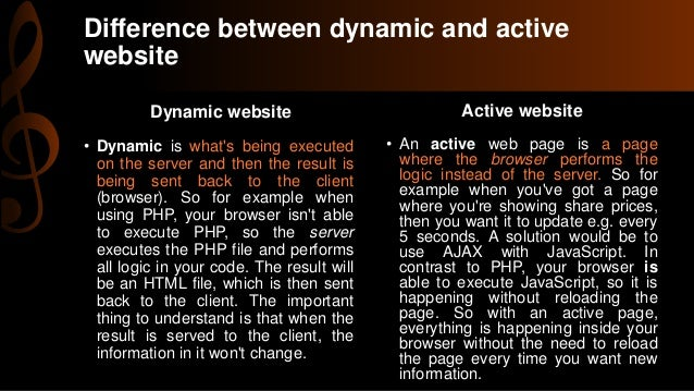 What is the difference between an active page and a for It web page