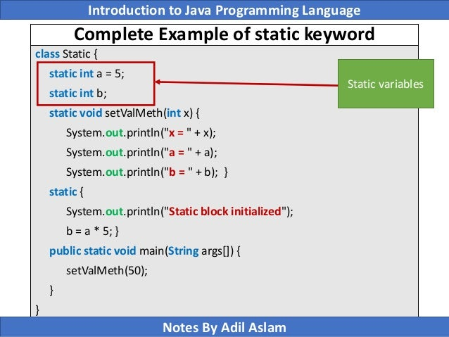 Static members of a class java concept of the day.