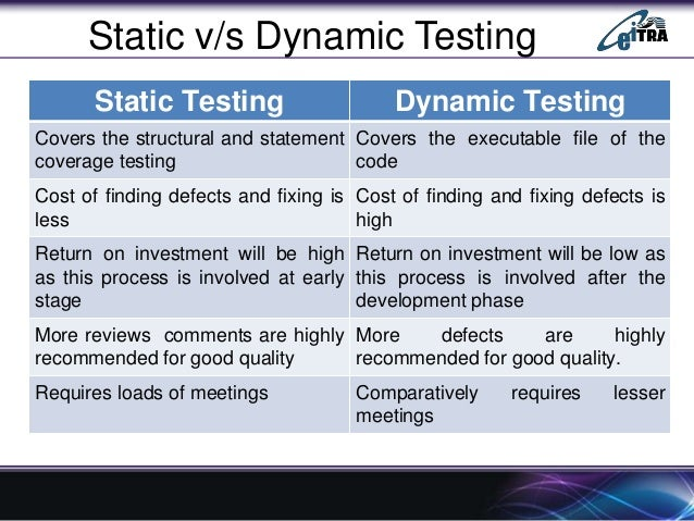 Dynamic Load Testing : Static testing