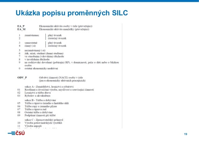 19 Ukázka popisu proměnných SILC