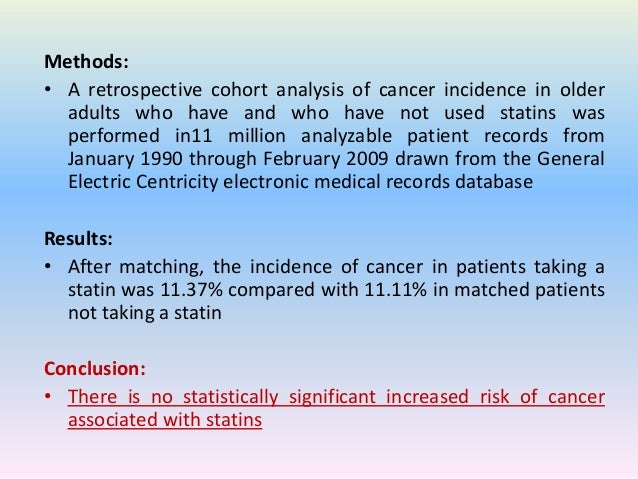 the risk of cancer in users of statins essay Objective to investigate the relationship between statin use and pancreatic cancer risk  guchelaar h (2004) the risk of cancer in users of statins.