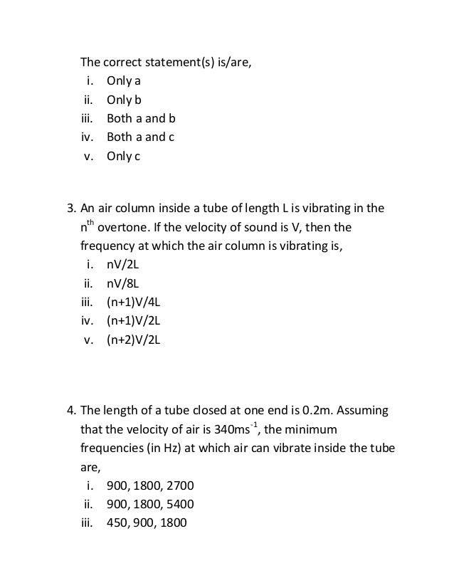 Stationary waves worksheet
