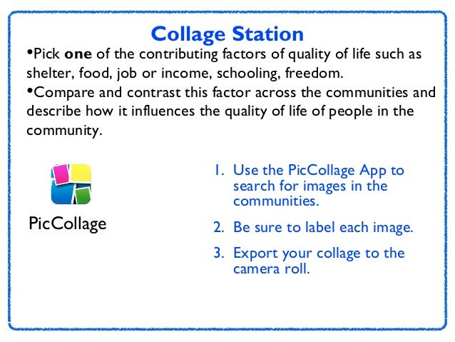 Collage Station  •Pick one of the contributing factors of quality of life such as  shelter, food, job or income, schooling...