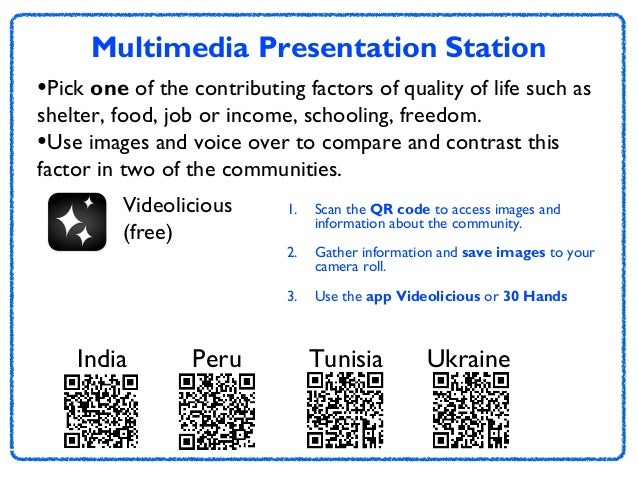 Multimedia Presentation Station •Pick one of the contributing factors of quality of life such as shelter, food, job or inc...