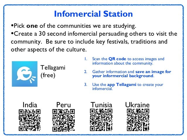 Infomercial Station •Pick one of the communities we are studying. •Create a 30 second infomercial persuading others to vis...