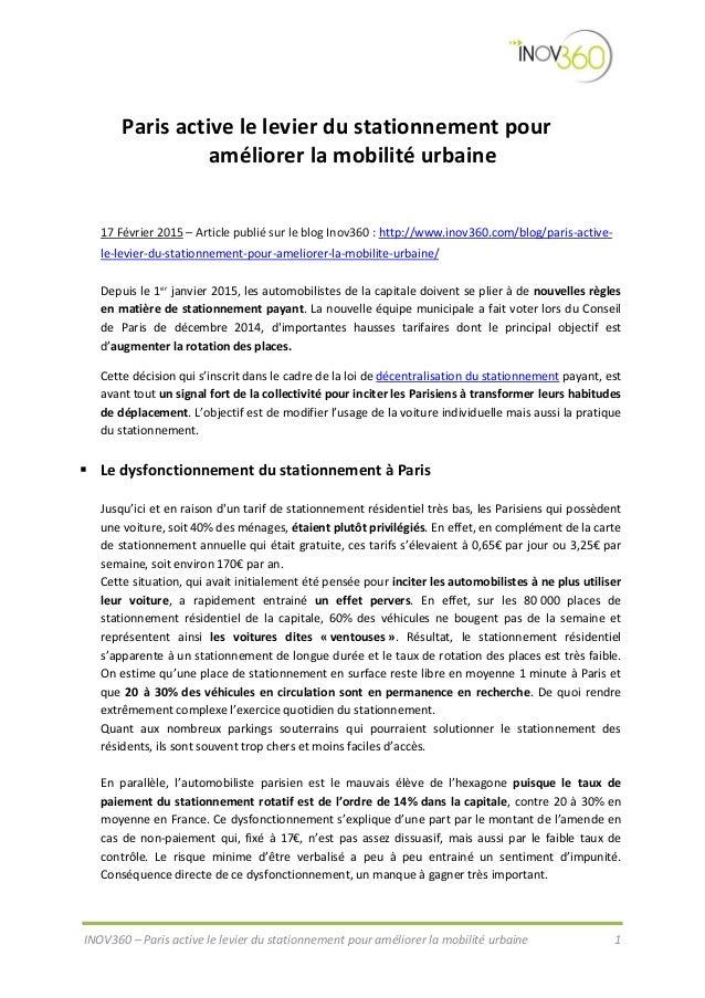 INOV360 – Paris active le levier du stationnement pour améliorer la mobilité urbaine 1 Paris active le levier du stationne...