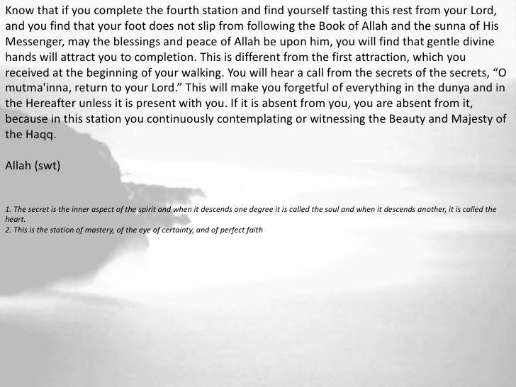 The Fifth Station                     (Nafs ar Radiyyah)                     Content SelfTraits:       endurance, resignat...